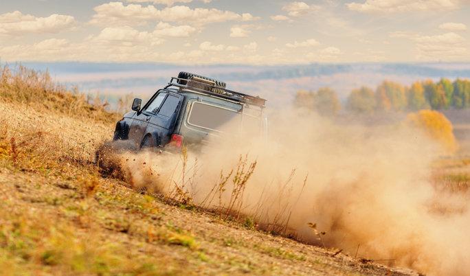 Landrover bergauf fahren